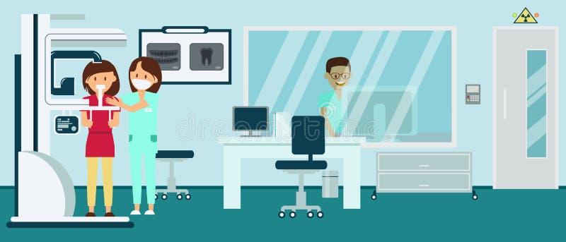 Ο Isometric θηλυκός ασθενής κάνει την πανοραμική εικόνα ακτινογραφιών στο οδοντικό δωμάτιο ακτινολογίας απεικόνιση αποθεμάτων