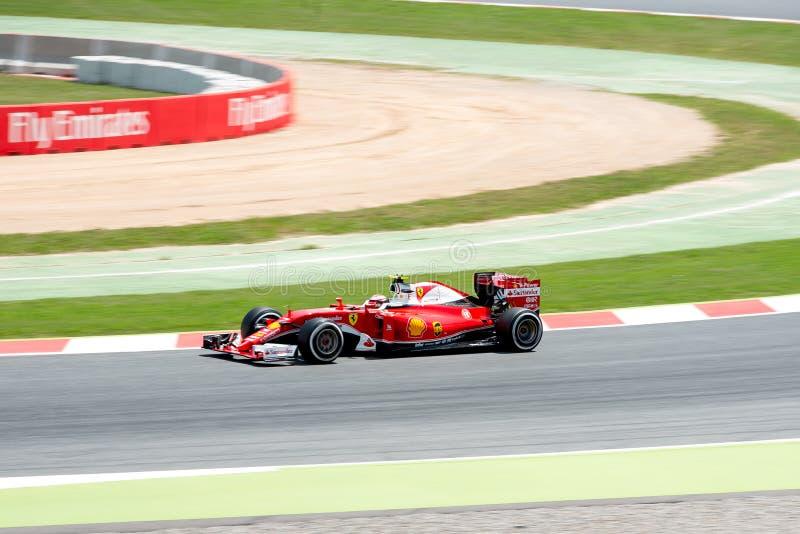 Ο Sebastian Vettel οδηγεί το αυτοκίνητο Scuderia Ferrari στη διαδρομή για τα ισπανικά Grand Prix Formula 1 Circuit de Catalunya στοκ φωτογραφίες