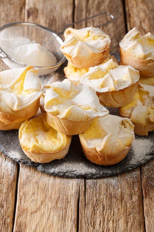 Ο Soffioni Abruzzesi είναι χαριτωμένα μικρά ιταλικά κεκάκια ή κεκάκια γεμάτα με αφράτη κρέμα Ricotta κοντά σε ένα πλακίδιο με σχι στοκ εικόνα