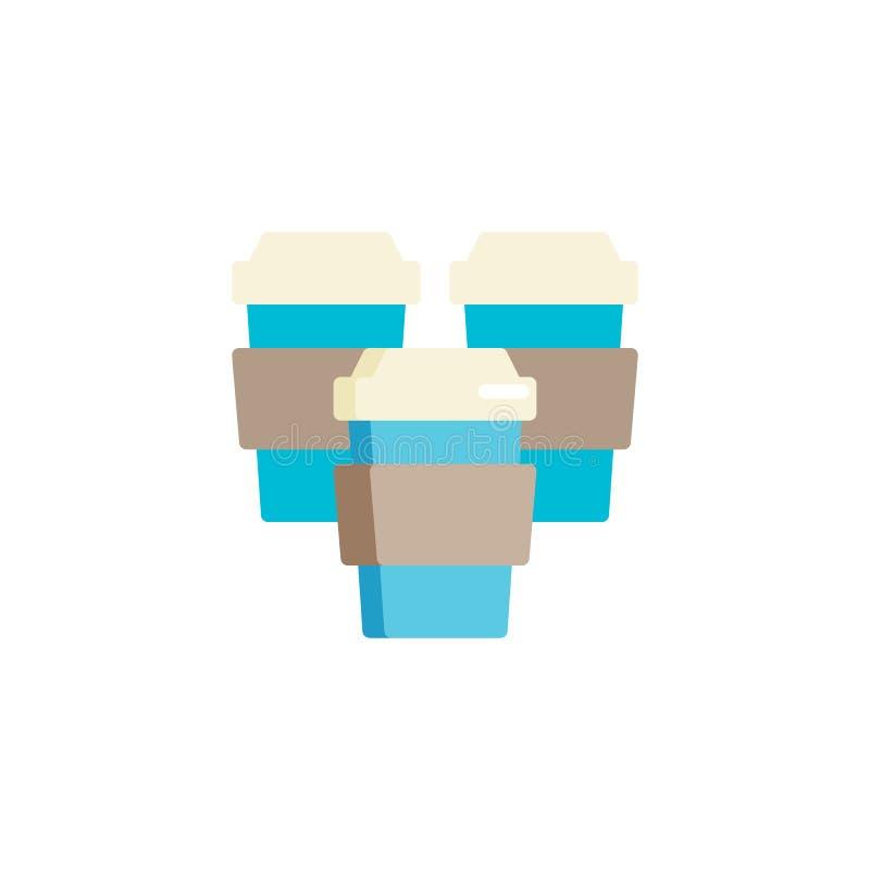 Ο take-$l*away καφές κοιλαίνει το επίπεδο εικονίδιο απεικόνιση αποθεμάτων