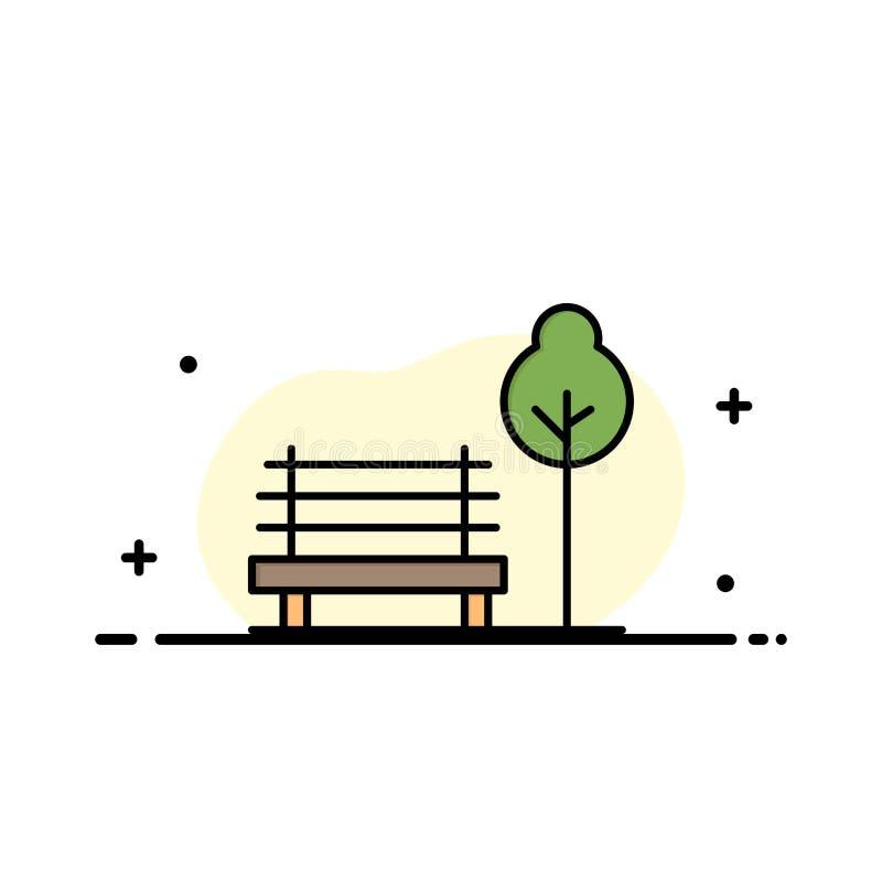 Πάγκος, έδρα, πάρκο, πρότυπο επιχειρησιακών λογότυπων ξενοδοχείων Επίπεδο χρώμα απεικόνιση αποθεμάτων