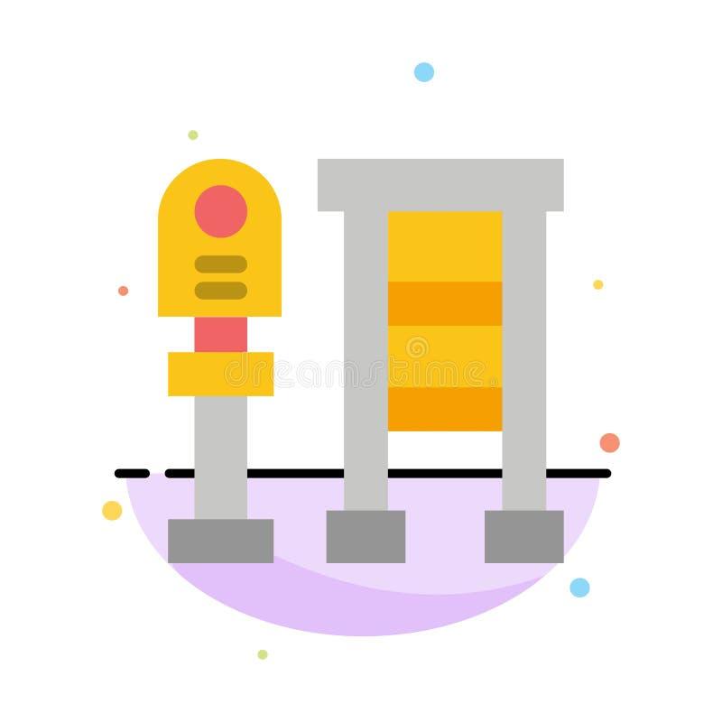 Πάγκος, λεωφορείο, σταθμός, αφηρημένο επίπεδο πρότυπο εικονιδίων χρώματος στάσεων ελεύθερη απεικόνιση δικαιώματος