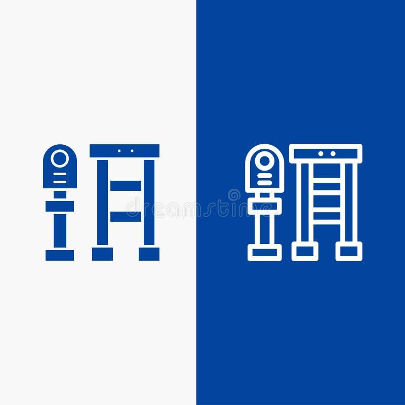 Πάγκος, λεωφορείο, σταθμός, γραμμή στάσεων και στερεά γραμμή εμβλημάτων εικονιδίων Glyph μπλε και στερεό μπλε έμβλημα εικονιδίων  απεικόνιση αποθεμάτων