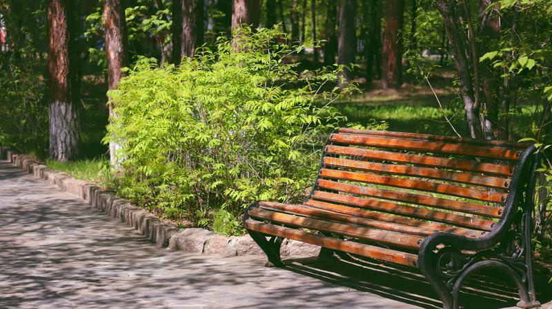 Πάγκος μοναξιά στο πάρκο, ένα μαγαζί για δύο εραστές στοκ φωτογραφία με δικαίωμα ελεύθερης χρήσης