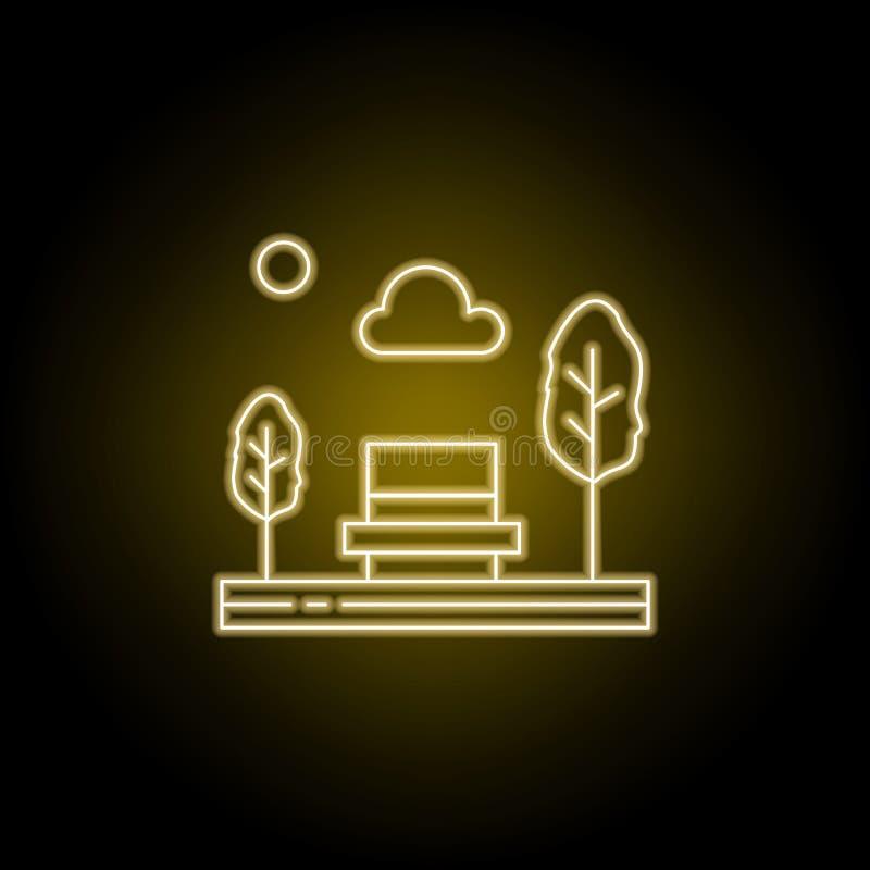πάγκος, πάρκο, κάθισμα, εικονίδιο γραμμών δέντρων στο κίτρινο ύφος νέου Στοιχείο της απεικόνισης τοπίων Το εικονίδιο γραμμών σημα απεικόνιση αποθεμάτων