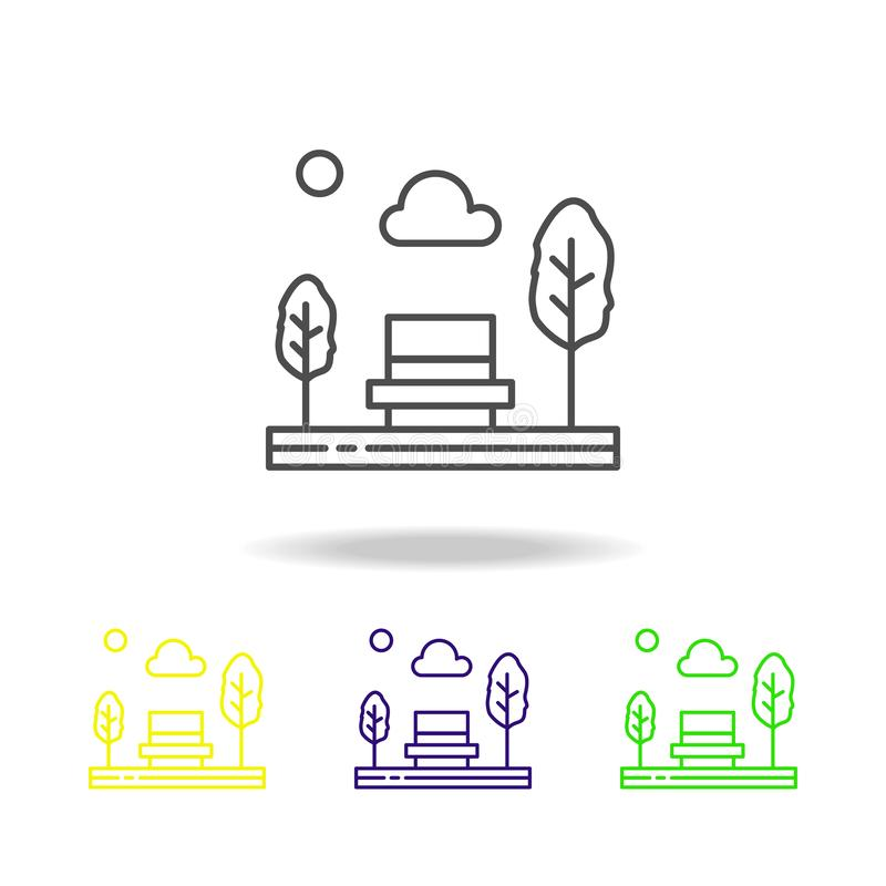 πάγκος, πάρκο, κάθισμα, χρωματισμένο δέντρα εικονίδιο Μπορέστε να χρησιμοποιηθείτε για τον Ιστό, λογότυπο, κινητό app, UI, UX ελεύθερη απεικόνιση δικαιώματος