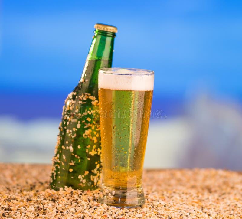 Πάγος - κρύο πράσινο unlabelled μπουκάλι της μπύρας στοκ εικόνες