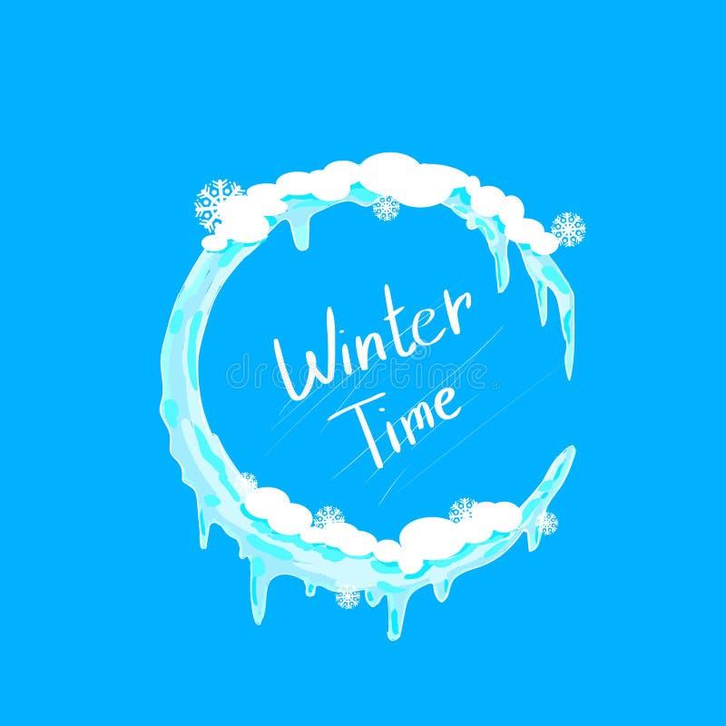 Πάγος κύκλων Χριστουγέννων χειμώνα και λογότυπο χιονιού απεικόνιση αποθεμάτων