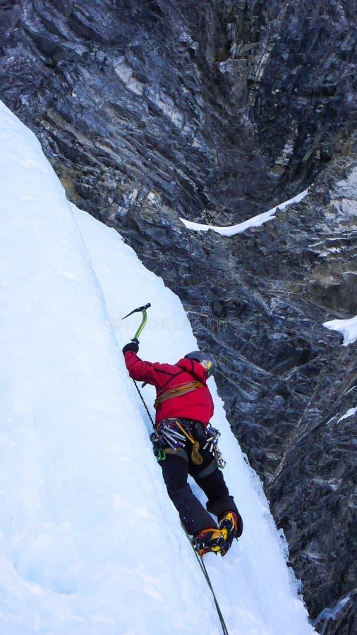 Πάγος που αναρριχείται στις ελβετικές Άλπεις στοκ εικόνες