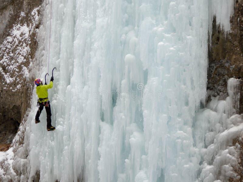 Πάγος που αναρριχείται Serrai Di Sottoguda στοκ εικόνες