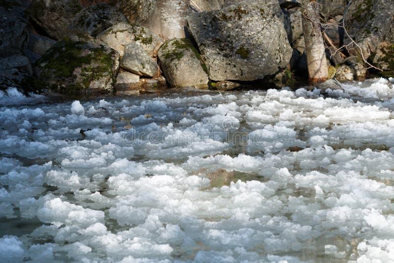 Πάγος που ρέει στον ποταμό Yosemite στοκ εικόνες