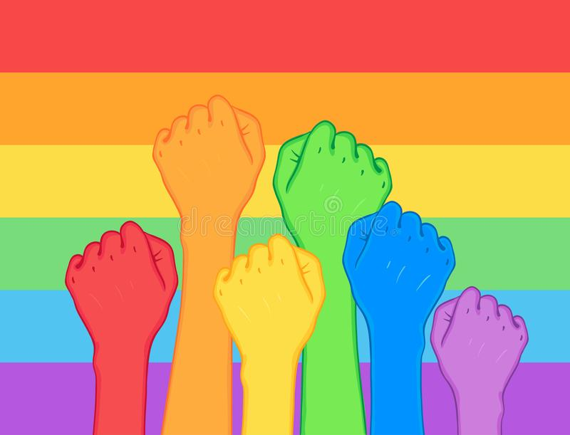 Πάλη για τα δικαιώματα ομοφυλοφίλων Ανθρώπινα χέρια (πυγμές) που αυξάνονται επάνω Ο συνταγματάρχης ουράνιων τόξων διανυσματική απεικόνιση