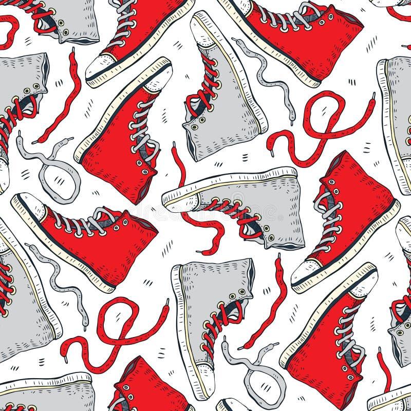 πάνινα παπούτσια Άνευ ραφής ανασκόπηση διανυσματική απεικόνιση