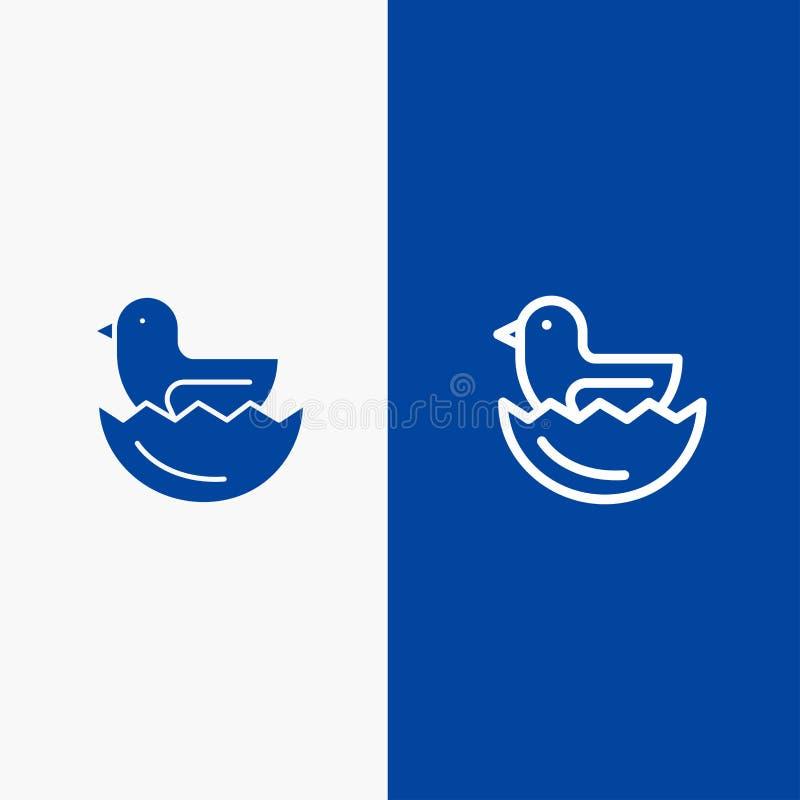 Πάπια, αυγό, γραμμή Πάσχας και στερεά γραμμή εμβλημάτων εικονιδίων Glyph μπλε και στερεό μπλε έμβλημα εικονιδίων Glyph απεικόνιση αποθεμάτων