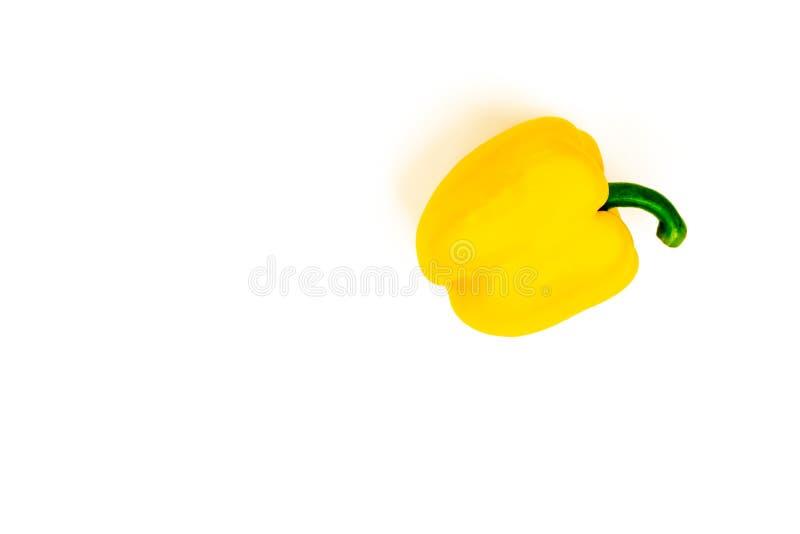 Πάπρικα Κίτρινο πιπέρι που απομονώνεται στο άσπρο υπόβαθρο Γλυκά πιπέρια κουδουνιών που απομονώνονται E στοκ εικόνα