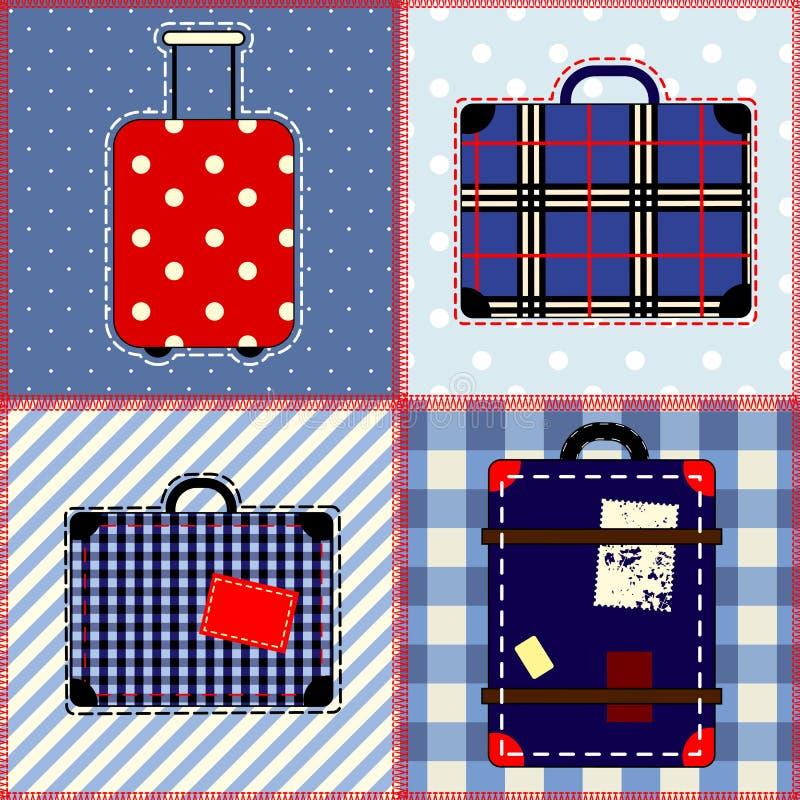 Πάπλωμα προσθηκών με τις βαλίτσες. διανυσματική απεικόνιση