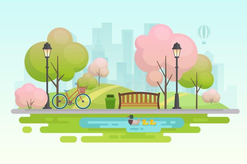 Πάρκο άνοιξη πόλεων διανυσματική απεικόνιση