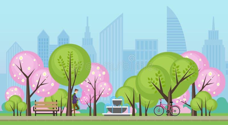 Πάρκο θερινών δημόσιο πόλεων άνοιξης με τη διανυσματική απεικόνιση δέντρων sakura ελεύθερη απεικόνιση δικαιώματος