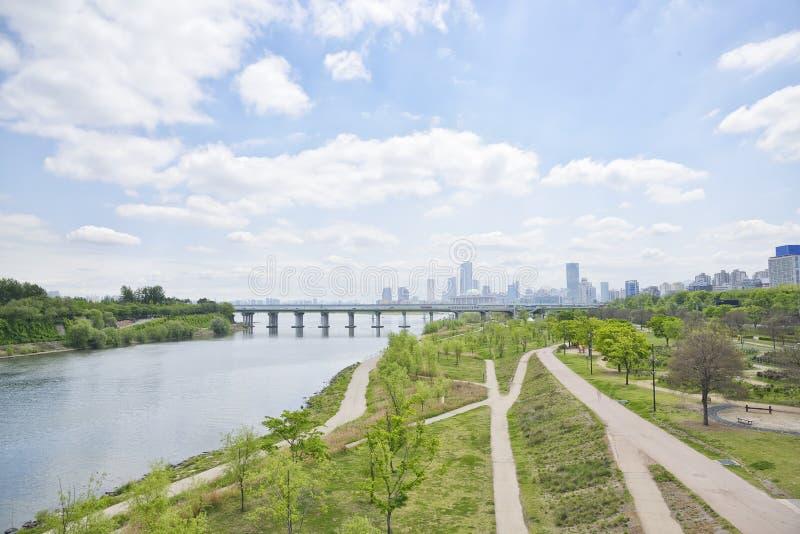 Πάρκο και κτήρια Hangang σε Yeouido στοκ εικόνες