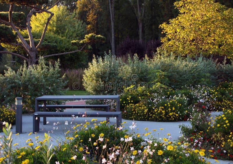 Πάρκο με τα ετήσια λουλούδια και τα δέντρα στοκ εικόνες με δικαίωμα ελεύθερης χρήσης