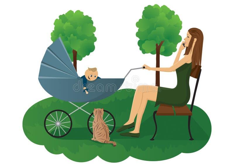 πάρκο μητέρων μωρών διανυσματική απεικόνιση