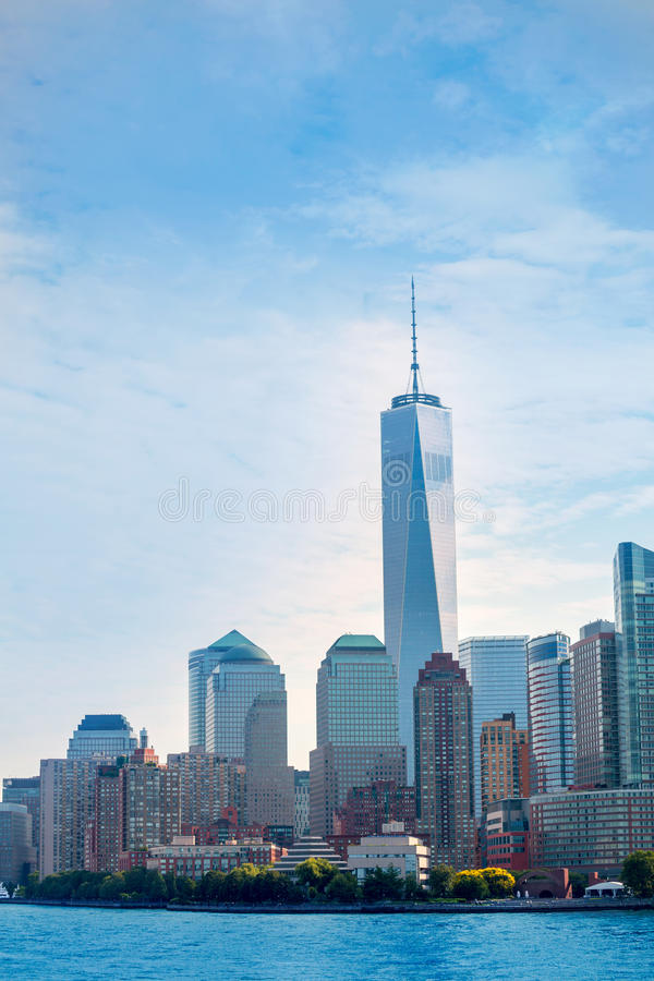 Πάρκο Νέα Υόρκη ΗΠΑ μπαταριών οριζόντων του Λόουερ Μανχάταν στοκ εικόνες με δικαίωμα ελεύθερης χρήσης