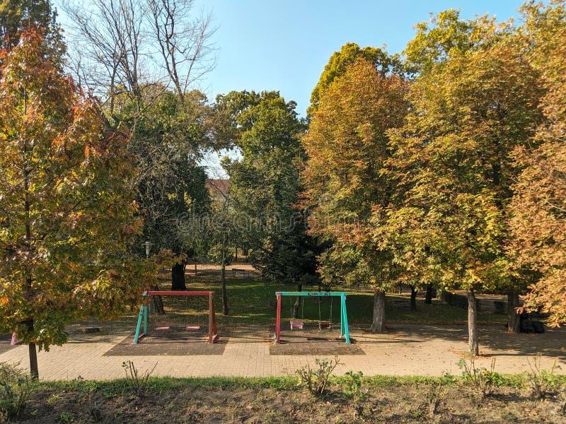 Πάρκο Παίδων - Λόφος του ποταμού Μούρες, - Arad, Ρουμανία στοκ φωτογραφία