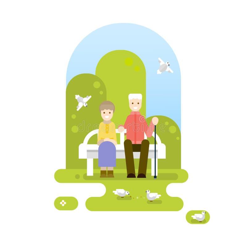 Πάρκο Παππούς και γιαγιά διανυσματική απεικόνιση
