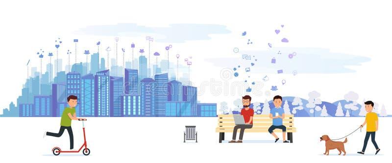 Πάρκο πόλεων με τους διάφορους ανθρώπους που αναπτύσσουν στον ελεύθερο χρόνο τις υπαίθριες δραστηριότητες, που οδηγούν σε ένα μηχ απεικόνιση αποθεμάτων