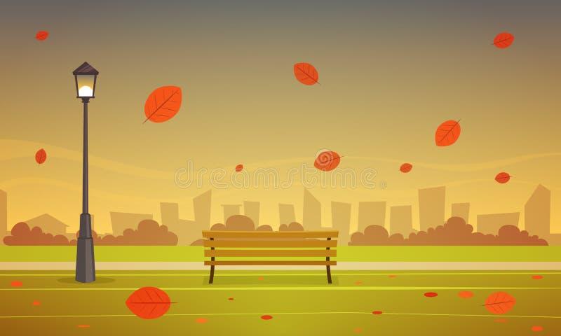 Πάρκο πόλεων φθινοπώρου ελεύθερη απεικόνιση δικαιώματος