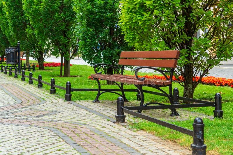 Πάρκο στην πόλη Πολωνία του Πόζναν Άποψη της αλέας και των πάγκων στοκ εικόνες