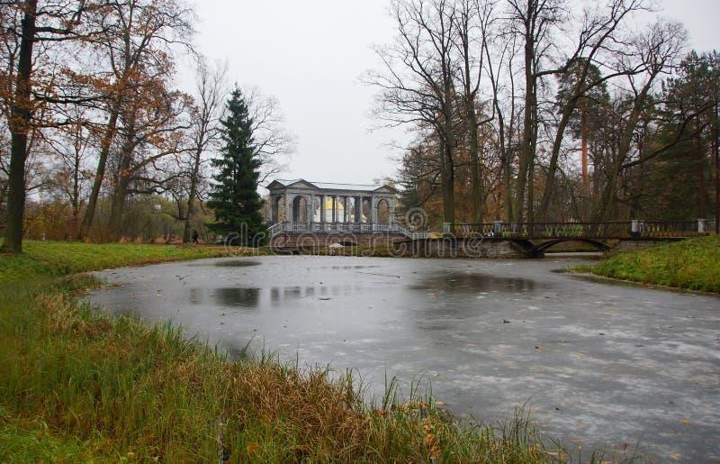 Πάρκο της Catherine σε Tsarskoe Selo, πάπιες και η σιβηρική γέφυρα στοκ φωτογραφίες