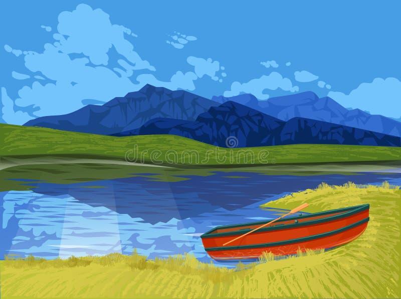 Πάρκο του Καναδά τοπίων - λίμνη με το βουνό και το σκάφος διανυσματική απεικόνιση