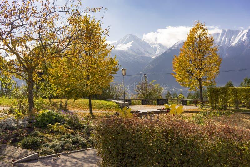 Πάρκο φθινοπώρου που αγνοεί τα αυστριακά όρη στοκ φωτογραφίες με δικαίωμα ελεύθερης χρήσης