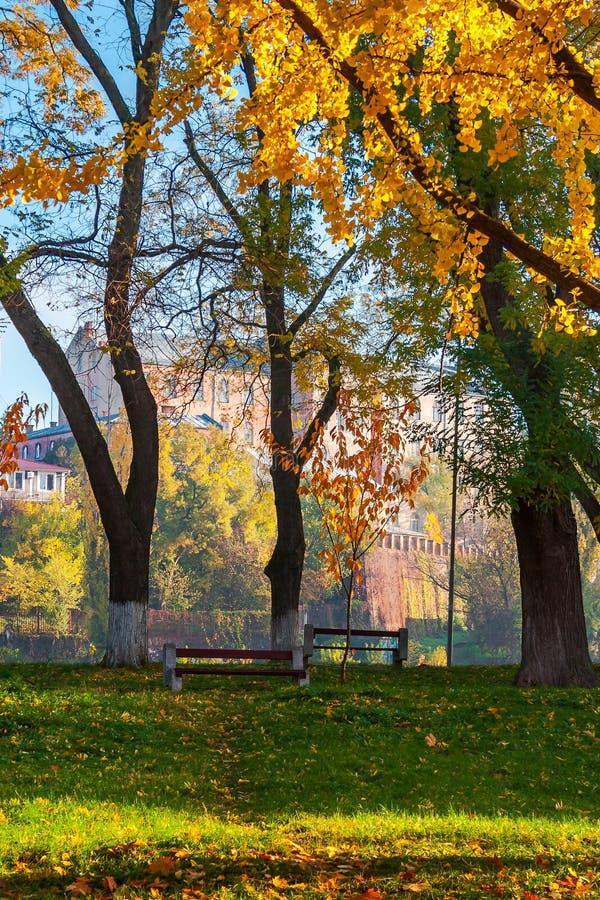 Πάρκο φθινοπώρου στο naberezhna Pravoslavna στοκ φωτογραφία