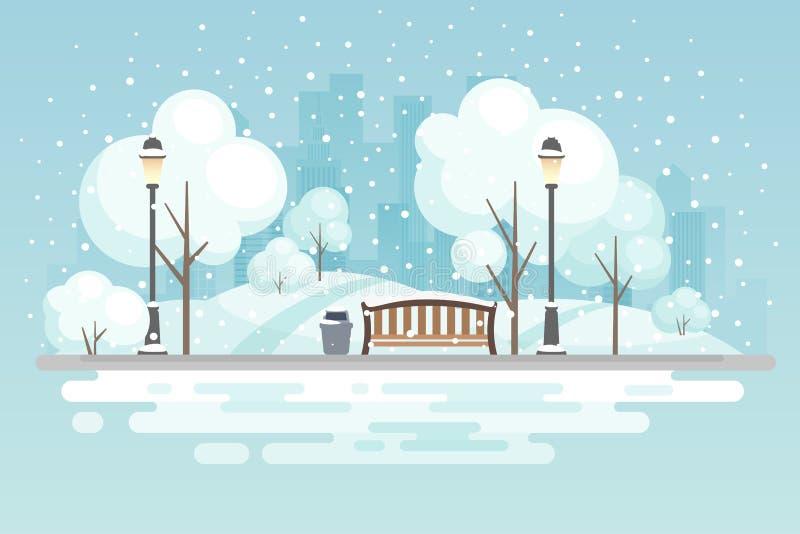 Πάρκο χειμερινών πόλεων διανυσματική απεικόνιση