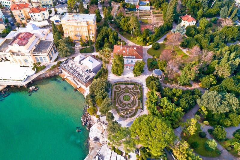 Πάρκο Angiolina κατά την εναέρια άποψη Opatija στοκ εικόνα με δικαίωμα ελεύθερης χρήσης