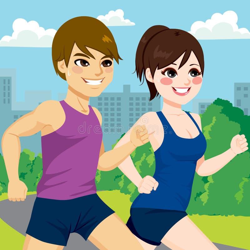 Πάρκο Jogging ζεύγους διανυσματική απεικόνιση