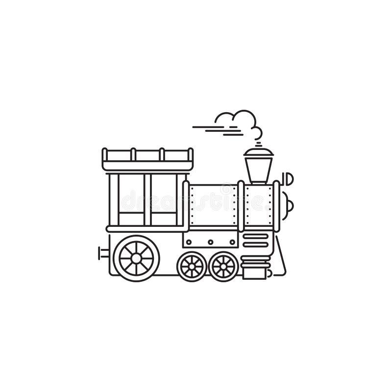Πάρκων διανυσματικό γραμμικό σχέδιο εικονιδίων τραίνων κινητήριο που απομονώνεται στο άσπρο υπόβαθρο Πρότυπο λογότυπων πάρκων, στ διανυσματική απεικόνιση