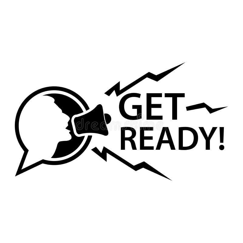 Πάρτε έτοιμος με megaphone Επίπεδη διανυσματική απεικόνιση στο άσπρο υπόβαθρο ελεύθερη απεικόνιση δικαιώματος
