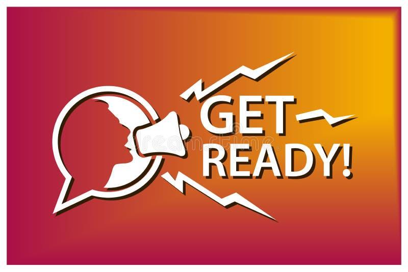 Πάρτε έτοιμος με megaphone Επίπεδη διανυσματική απεικόνιση στο ζωηρόχρωμο υπόβαθρο απεικόνιση αποθεμάτων