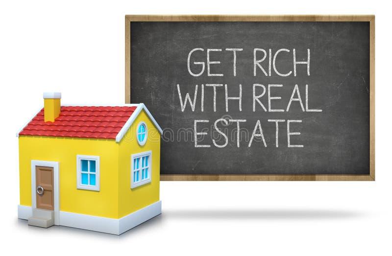 Πάρτε πλούσιος με την ακίνητη περιουσία στον πίνακα στοκ εικόνες με δικαίωμα ελεύθερης χρήσης