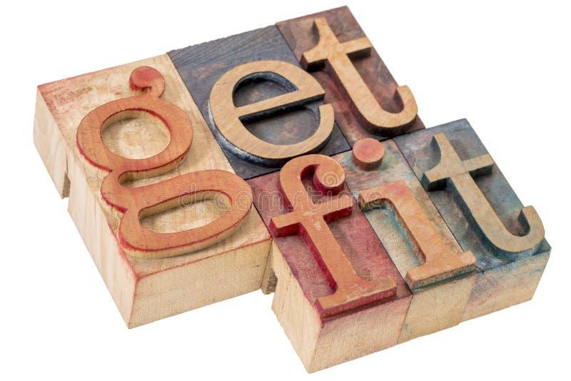Πάρτε την κατάλληλη περίληψη λέξης στον ξύλινο τύπο στοκ φωτογραφία με δικαίωμα ελεύθερης χρήσης