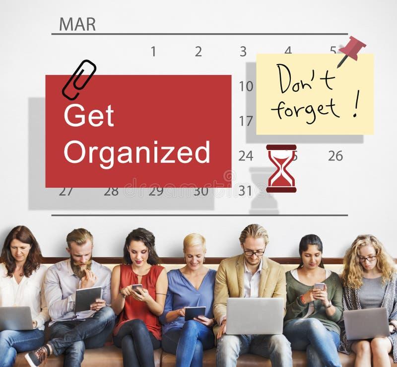Πάρτε την οργανωμένη έννοια ημερολογιακής διαχείρισης αρμόδιων για το σχεδιασμό στοκ εικόνες