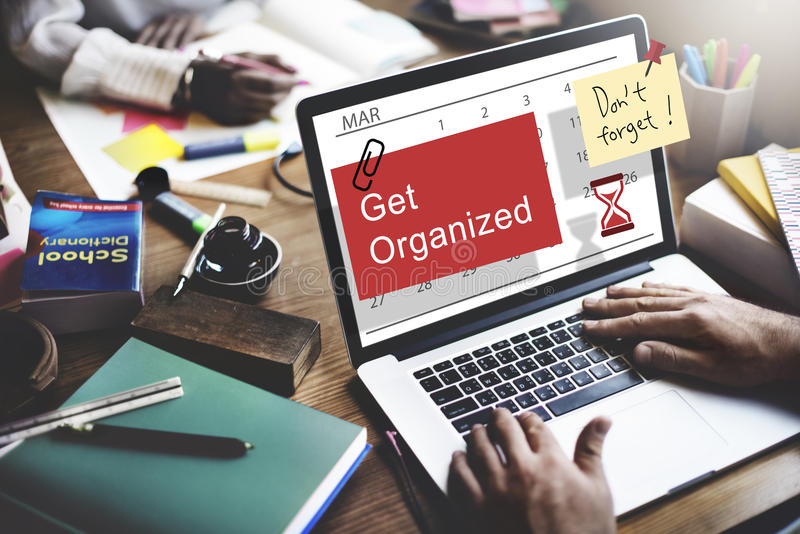 Πάρτε την οργανωμένη έννοια ημερολογιακής διαχείρισης αρμόδιων για το σχεδιασμό στοκ φωτογραφία με δικαίωμα ελεύθερης χρήσης