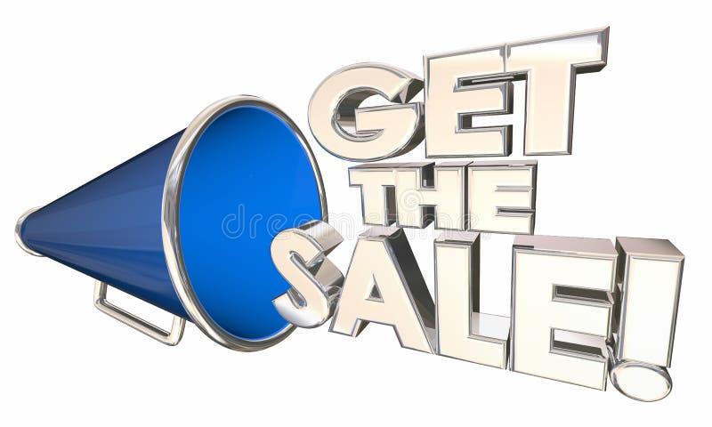 Πάρτε τις Megaphone Bullhorn πώλησης λέξεις επιτυχίας πώλησης απεικόνιση αποθεμάτων