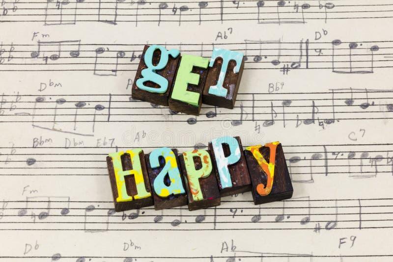 Πάρτε τον ευτυχή θετικό letterpress παραμονής ζωής χαράς ευτυχίας τοποθέτη στοκ φωτογραφία με δικαίωμα ελεύθερης χρήσης