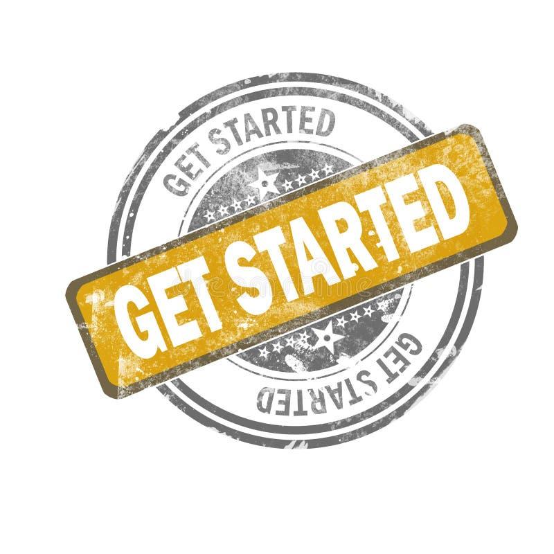 Πάρτε το αρχισμένο κίτρινο εκλεκτής ποιότητας γραμματόσημο απεικόνιση αποθεμάτων