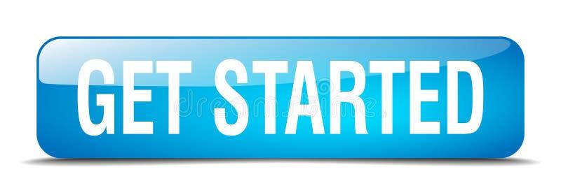 πάρτε το αρχισμένο μπλε απομονωμένο τετράγωνο κουμπί Ιστού ελεύθερη απεικόνιση δικαιώματος