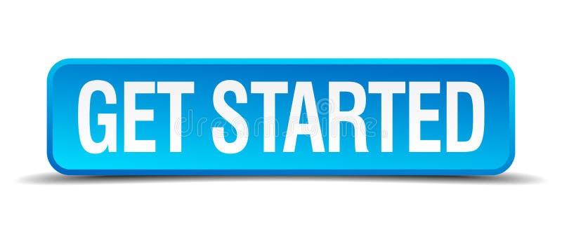 Πάρτε το αρχισμένο μπλε τρισδιάστατο ρεαλιστικό τετραγωνικό κουμπί διανυσματική απεικόνιση
